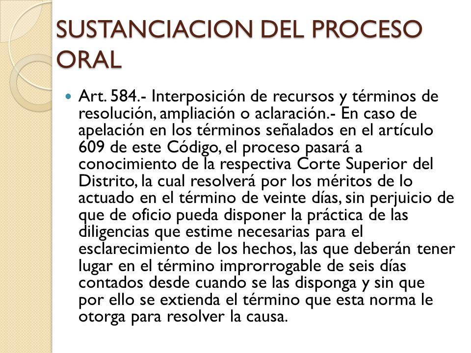 SUSTANCIACION DEL PROCESO ORAL Art. 584.- Interposición de recursos y términos de resolución, ampliación o aclaración.- En caso de apelación en los té