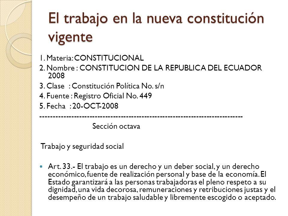 El trabajo en la nueva constitución vigente 1. Materia: CONSTITUCIONAL 2. Nombre : CONSTITUCION DE LA REPUBLICA DEL ECUADOR 2008 3. Clase : Constituci