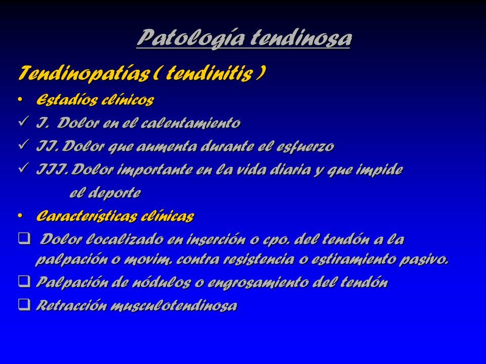 Patología tendinosa Tendinopatías ( tendinitis ) Estadíos clínicosEstadíos clínicos I. Dolor en el calentamiento I. Dolor en el calentamiento II. Dolo