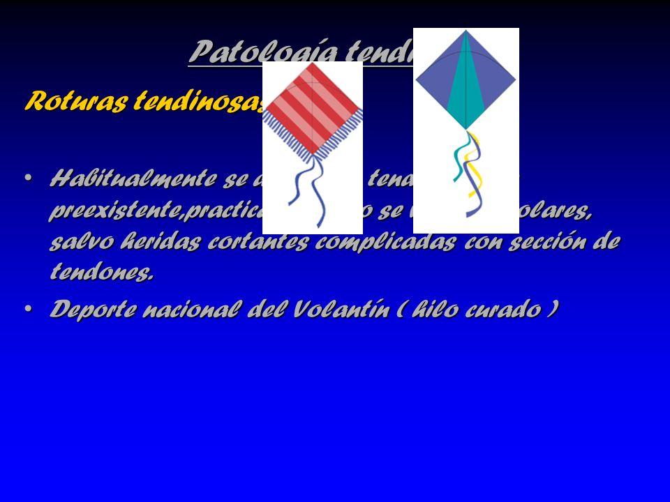 Patología tendinosa Roturas tendinosas Habitualmente se dan sobre tendinopatías preexistente,practicamente no se ven en escolares, salvo heridas corta