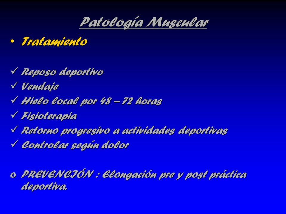 Patología Muscular TratamientoTratamiento Reposo deportivo Reposo deportivo Vendaje Vendaje Hielo local por 48 – 72 horas Hielo local por 48 – 72 hora