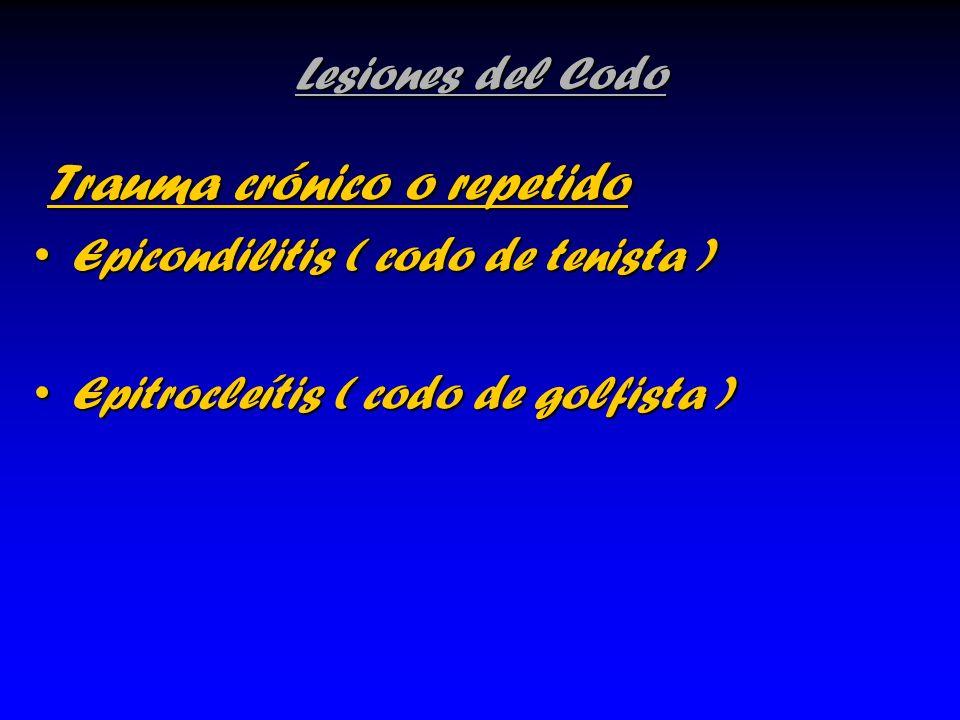 Lesiones del Codo Trauma crónico o repetido Trauma crónico o repetido Epicondilitis ( codo de tenista )Epicondilitis ( codo de tenista ) Epitrocleítis