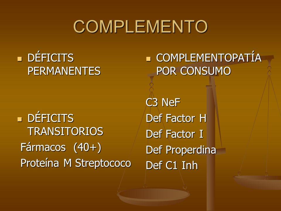 COMPLEMENTO DÉFICITS PERMANENTES DÉFICITS PERMANENTES DÉFICITS TRANSITORIOS DÉFICITS TRANSITORIOS Fármacos (40+) Fármacos (40+) Proteína M Streptococo