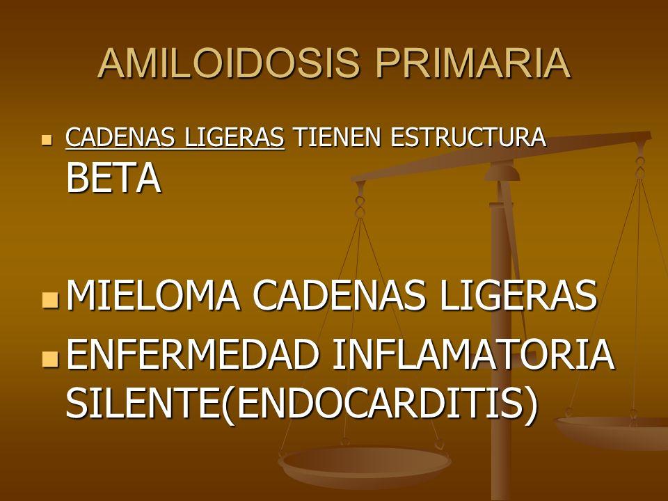 AMILOIDOSIS PRIMARIA CADENAS LIGERAS TIENEN ESTRUCTURA BETA CADENAS LIGERAS TIENEN ESTRUCTURA BETA MIELOMA CADENAS LIGERAS MIELOMA CADENAS LIGERAS ENF
