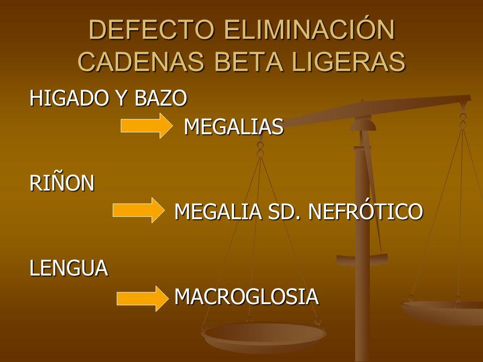 DEFECTO ELIMINACIÓN CADENAS BETA LIGERAS HIGADO Y BAZO MEGALIAS MEGALIASRIÑON MEGALIA SD. NEFRÓTICO LENGUAMACROGLOSIA