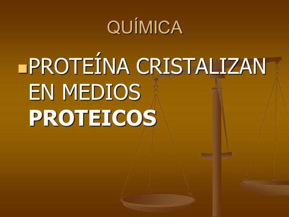 QUÍMICA PROTEÍNA CRISTALIZAN EN MEDIOS PROTEICOS PROTEÍNA CRISTALIZAN EN MEDIOS PROTEICOS