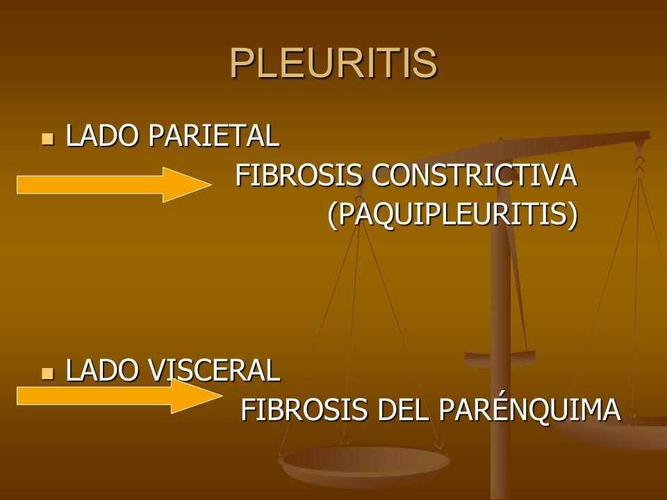 PLEURITIS LADO PARIETAL LADO PARIETAL FIBROSIS CONSTRICTIVA FIBROSIS CONSTRICTIVA (PAQUIPLEURITIS) (PAQUIPLEURITIS) LADO VISCERAL LADO VISCERAL FIBROS