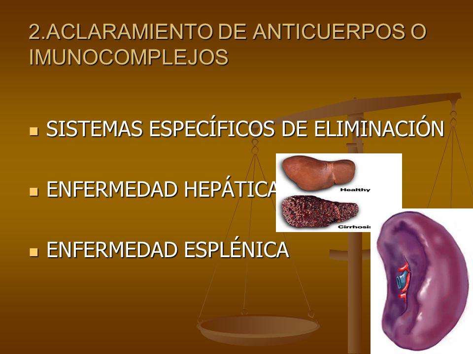 2.ACLARAMIENTO DE ANTICUERPOS O IMUNOCOMPLEJOS SISTEMAS ESPECÍFICOS DE ELIMINACIÓN SISTEMAS ESPECÍFICOS DE ELIMINACIÓN ENFERMEDAD HEPÁTICA ENFERMEDAD