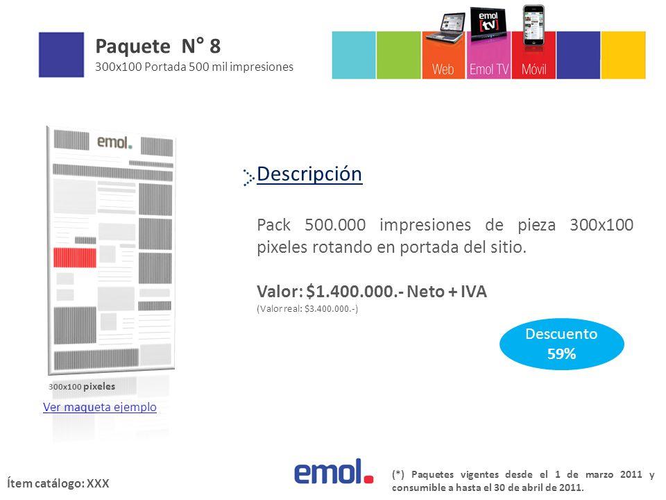 Descripción Pack 500.000 impresiones de pieza 300x100 pixeles rotando en portada del sitio.