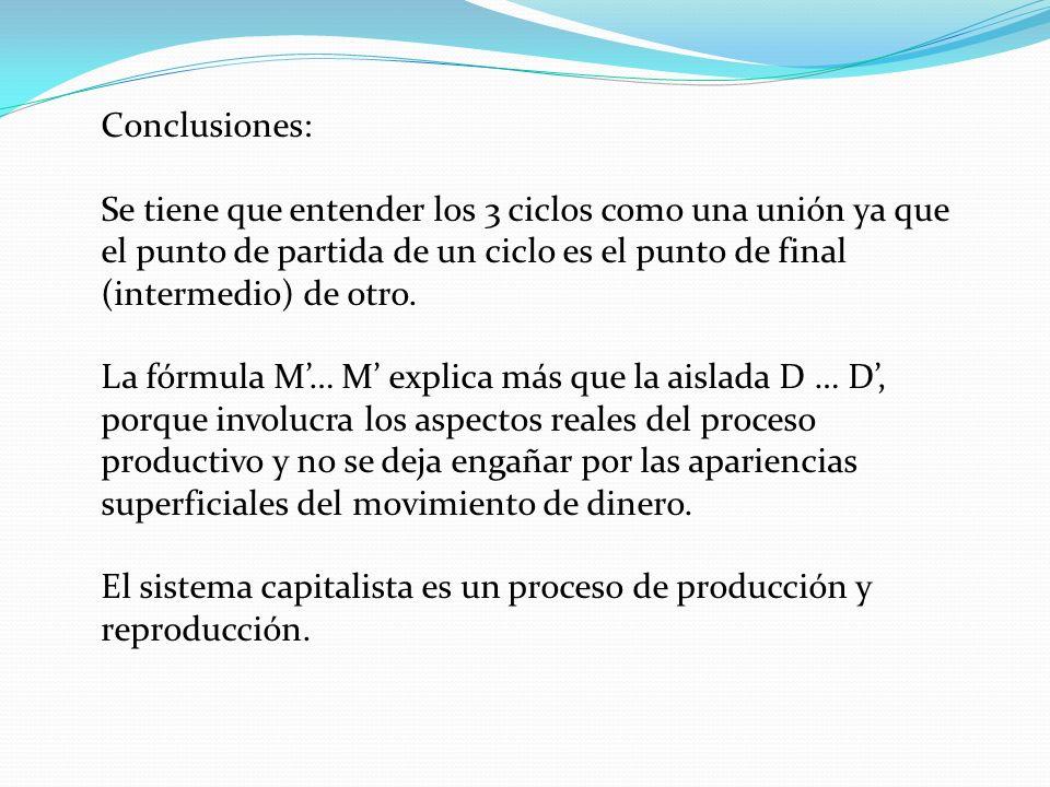 Conclusiones: Se tiene que entender los 3 ciclos como una unión ya que el punto de partida de un ciclo es el punto de final (intermedio) de otro. La f