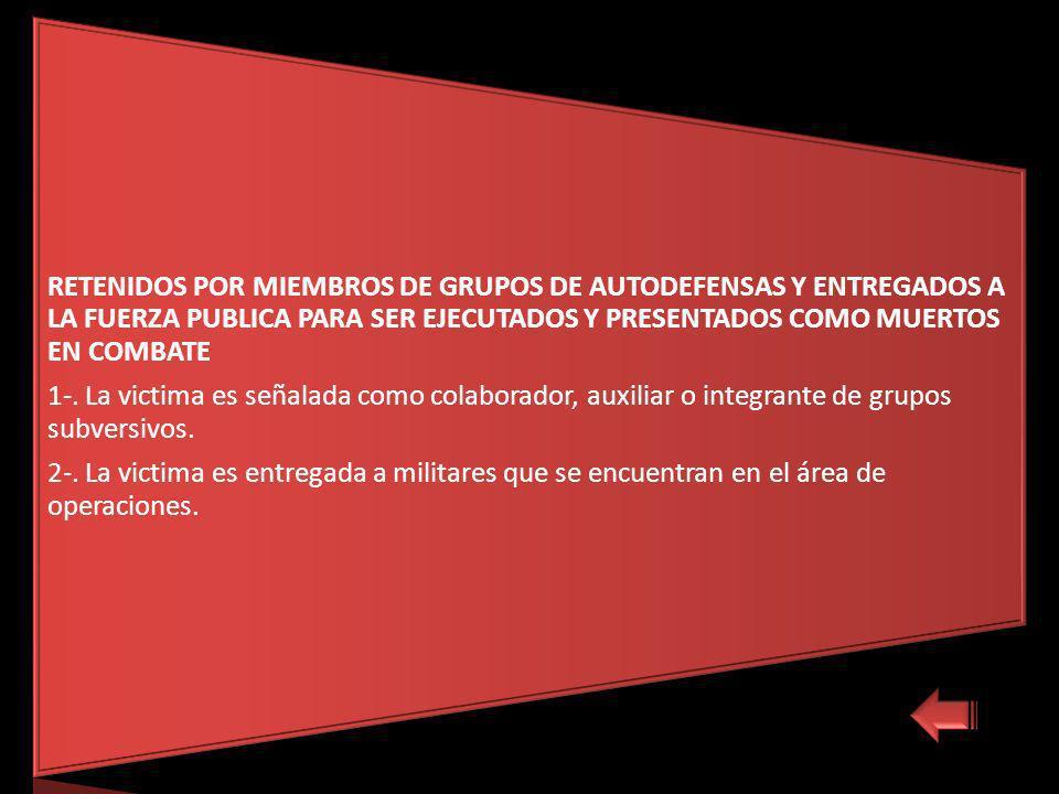 RETENIDOS POR MIEMBROS DE GRUPOS DE AUTODEFENSAS Y ENTREGADOS A LA FUERZA PUBLICA PARA SER EJECUTADOS Y PRESENTADOS COMO MUERTOS EN COMBATE 1-.