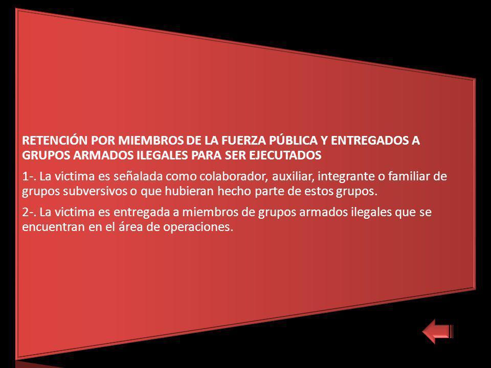 RETENCIÓN POR MIEMBROS DE LA FUERZA PÚBLICA Y ENTREGADOS A GRUPOS ARMADOS ILEGALES PARA SER EJECUTADOS 1-.