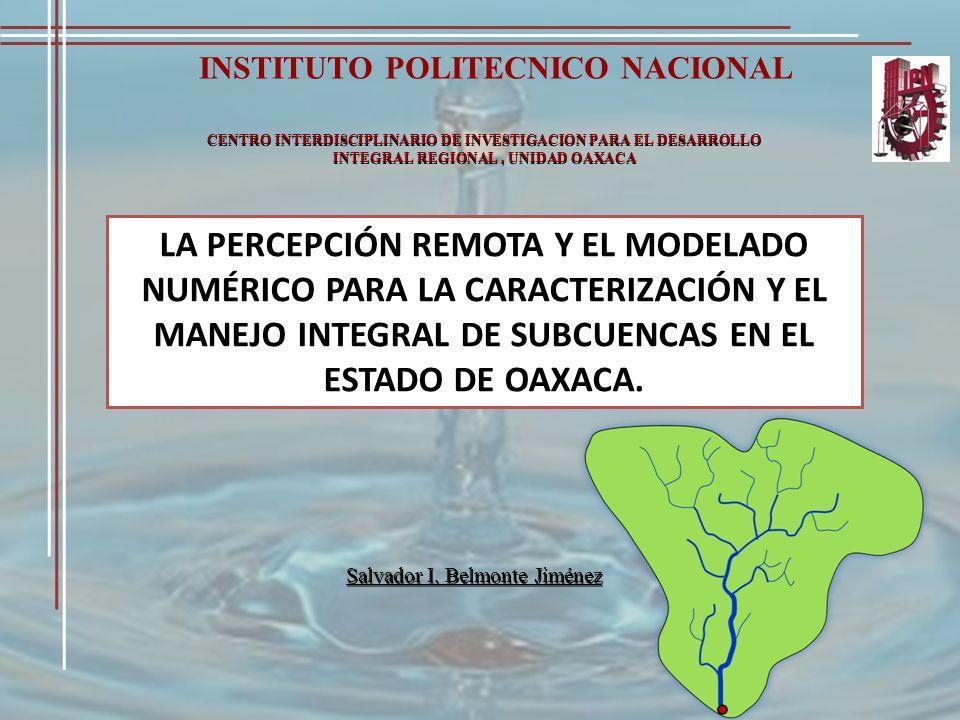 INSTITUTO POLITECNICO NACIONAL CENTRO INTERDISCIPLINARIO DE INVESTIGACION PARA EL DESARROLLO INTEGRAL REGIONAL, UNIDAD OAXACA LA PERCEPCIÓN REMOTA Y E