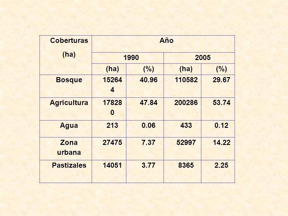 Coberturas (ha) Año 19902005 (ha)(%)(ha)(%) Bosque 15264 4 40.9611058229.67 Agricultura 17828 0 47.8420028653.74 Agua2130.064330.12 Zona urbana 274757