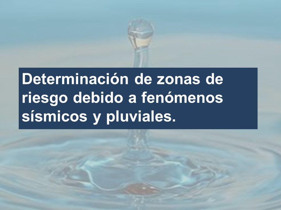 Determinación de zonas de riesgo debido a fenómenos sísmicos y pluviales.