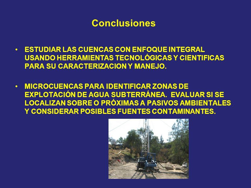 Conclusiones ESTUDIAR LAS CUENCAS CON ENFOQUE INTEGRAL USANDO HERRAMIENTAS TECNOLÓGICAS Y CIENTIFICAS PARA SU CARACTERIZACION Y MANEJO. MICROCUENCAS P