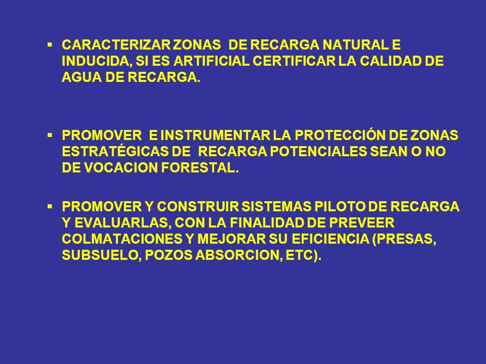 CARACTERIZAR ZONAS DE RECARGA NATURAL E INDUCIDA, SI ES ARTIFICIAL CERTIFICAR LA CALIDAD DE AGUA DE RECARGA. PROMOVER E INSTRUMENTAR LA PROTECCIÓN DE