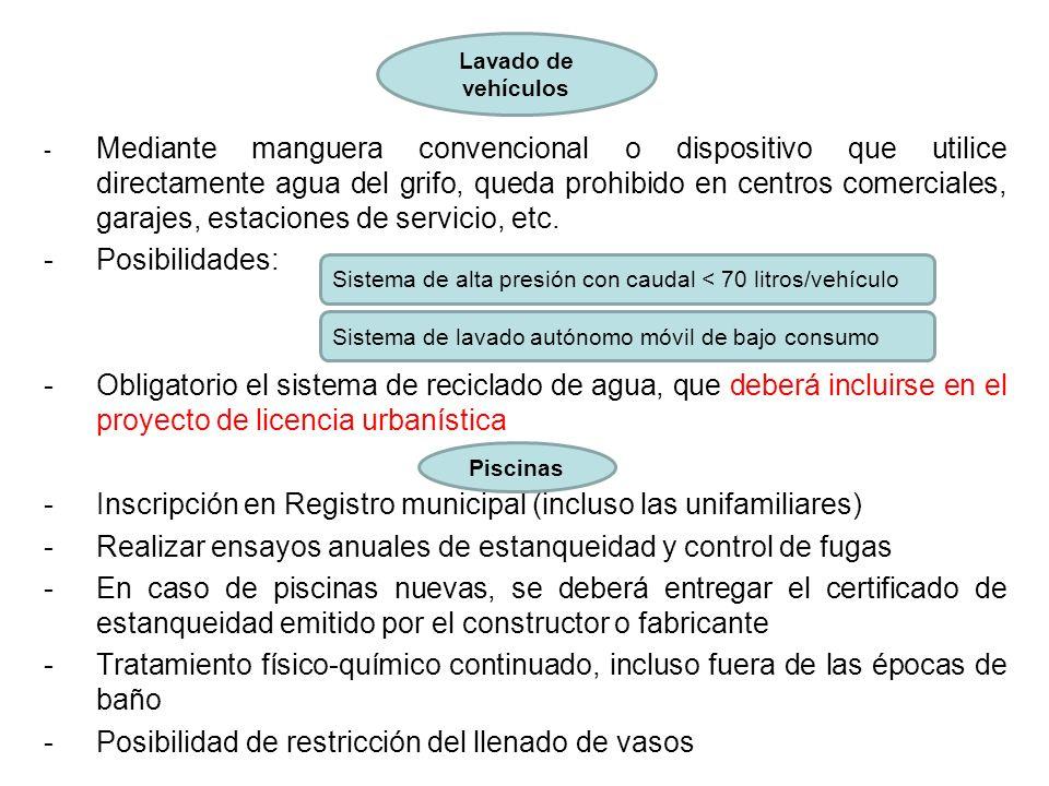 - Mediante manguera convencional o dispositivo que utilice directamente agua del grifo, queda prohibido en centros comerciales, garajes, estaciones de