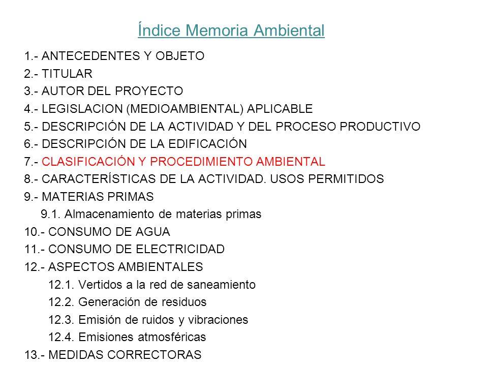 Índice Memoria Ambiental 1.- ANTECEDENTES Y OBJETO 2.- TITULAR 3.- AUTOR DEL PROYECTO 4.- LEGISLACION (MEDIOAMBIENTAL) APLICABLE 5.- DESCRIPCIÓN DE LA