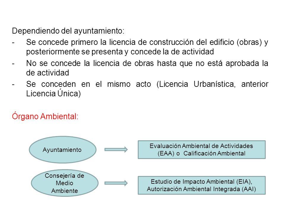 Dependiendo del ayuntamiento: -Se concede primero la licencia de construcción del edificio (obras) y posteriormente se presenta y concede la de activi