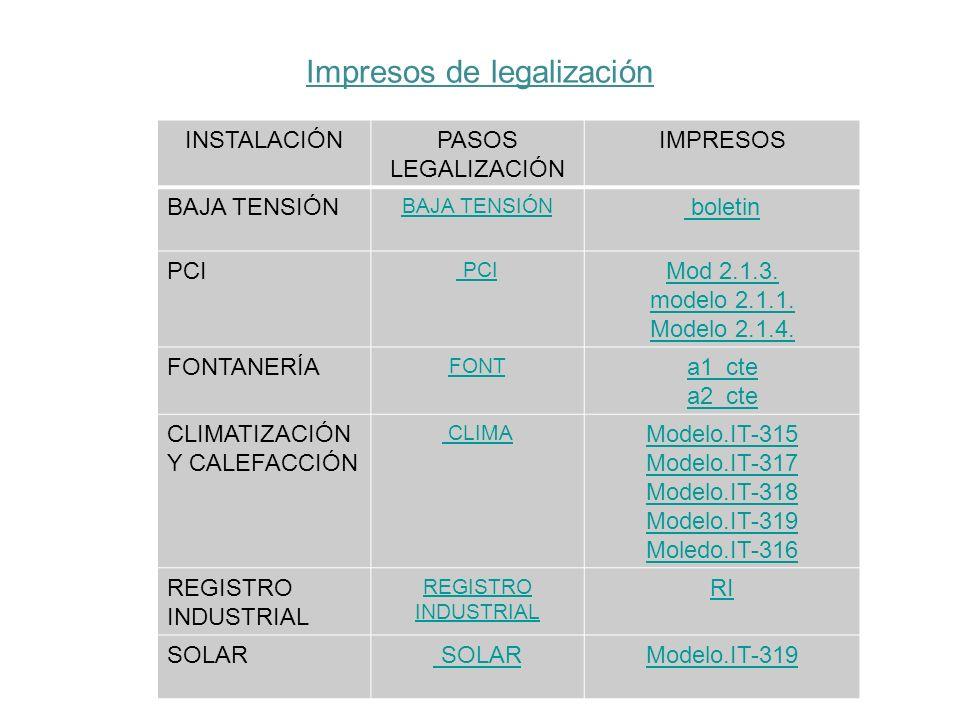 Impresos de legalización INSTALACIÓNPASOS LEGALIZACIÓN IMPRESOS BAJA TENSIÓN boletin PCI Mod 2.1.3. modelo 2.1.1. Modelo 2.1.4. FONTANERÍA FONT a1_cte