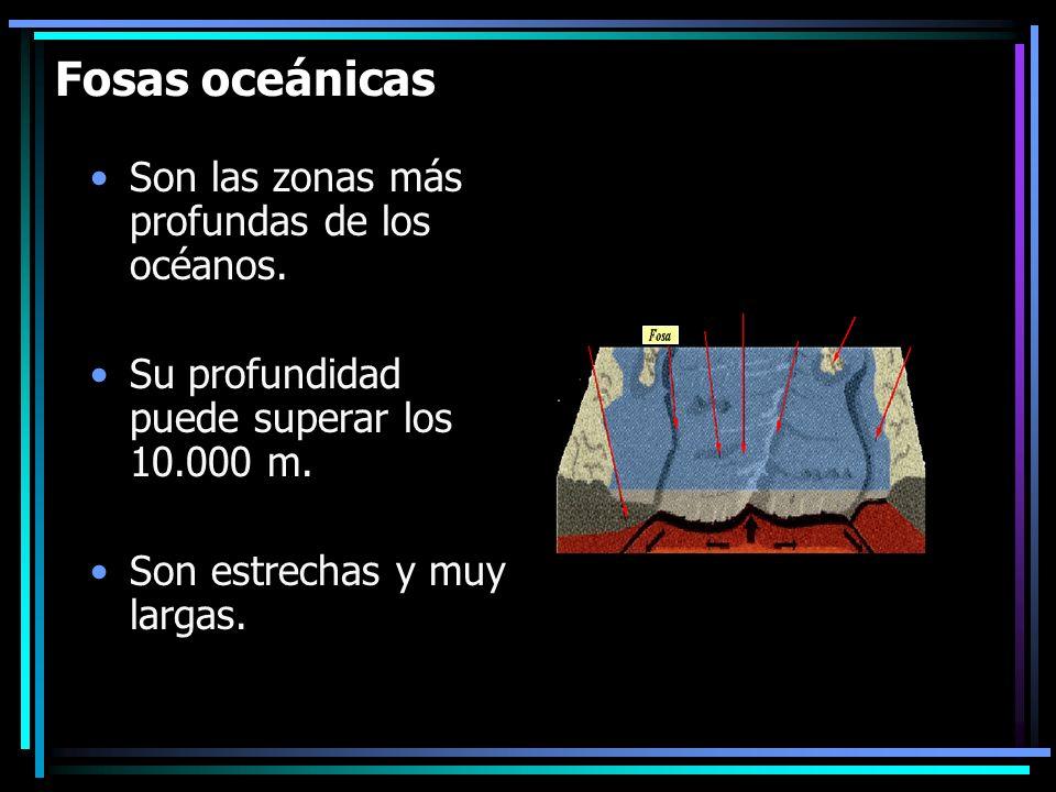 Fosas oceánicas Son las zonas más profundas de los océanos. Su profundidad puede superar los 10.000 m. Son estrechas y muy largas.