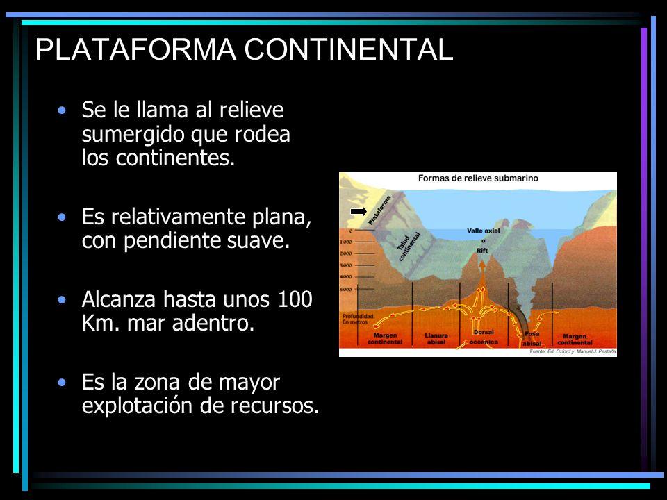 PLATAFORMA CONTINENTAL Se le llama al relieve sumergido que rodea los continentes. Es relativamente plana, con pendiente suave. Alcanza hasta unos 100