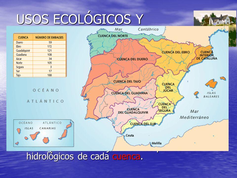 USOS ECOLÓGICOS Y MEDIOAMBIENTALES Caudal ecológico (ambiental, mínimo): Cantidad de agua necesaria para asegurar el buen funcionamiento y equilibrio