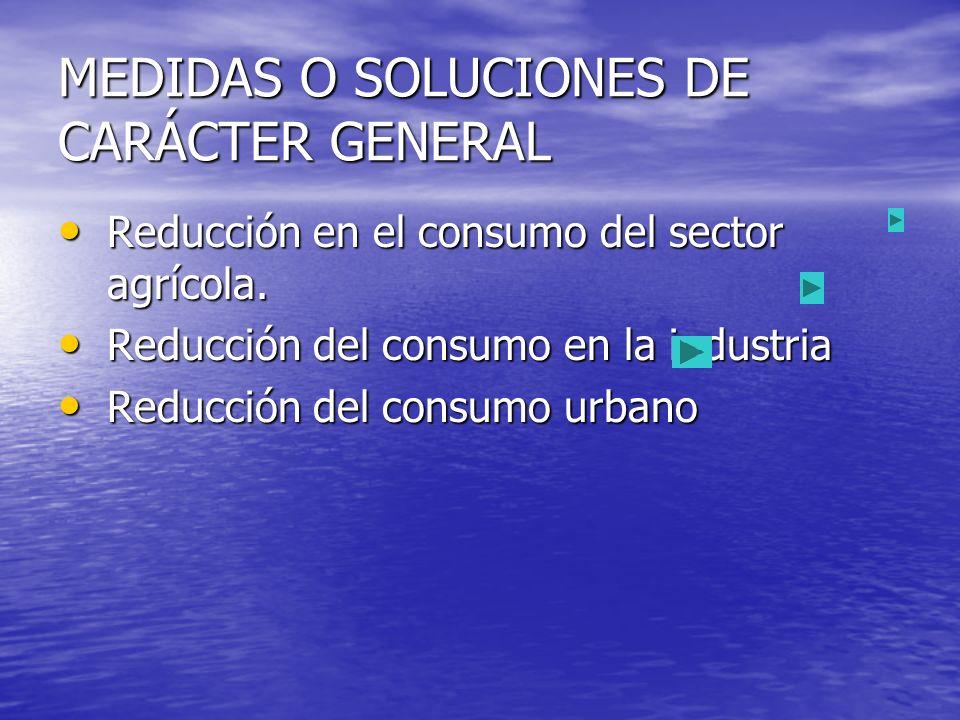 MEDIDAS O SOLUCIONES DE CARÁCTER GENERAL Reducción en el consumo del sector agrícola. Reducción en el consumo del sector agrícola. Reducción del consu