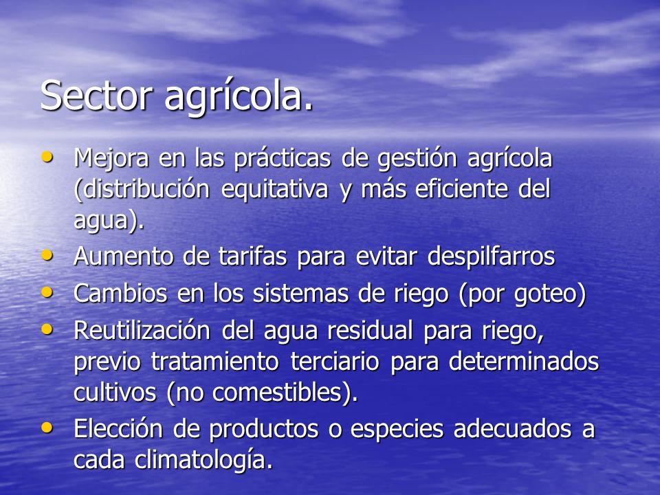 Sector agrícola. Mejora en las prácticas de gestión agrícola (distribución equitativa y más eficiente del agua). Mejora en las prácticas de gestión ag