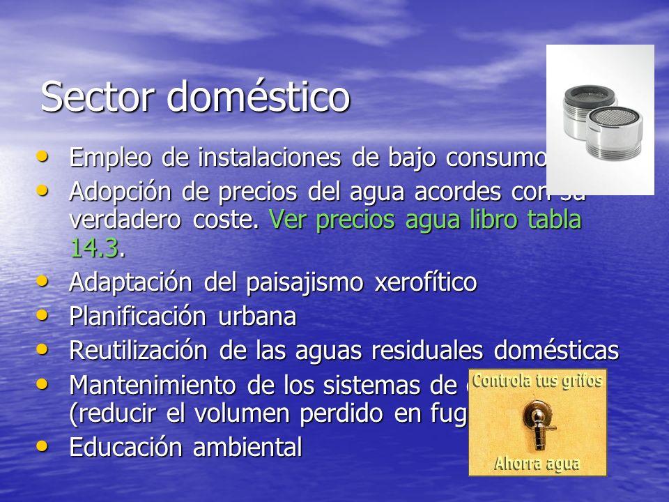 Sector doméstico Empleo de instalaciones de bajo consumo Empleo de instalaciones de bajo consumo Adopción de precios del agua acordes con su verdadero