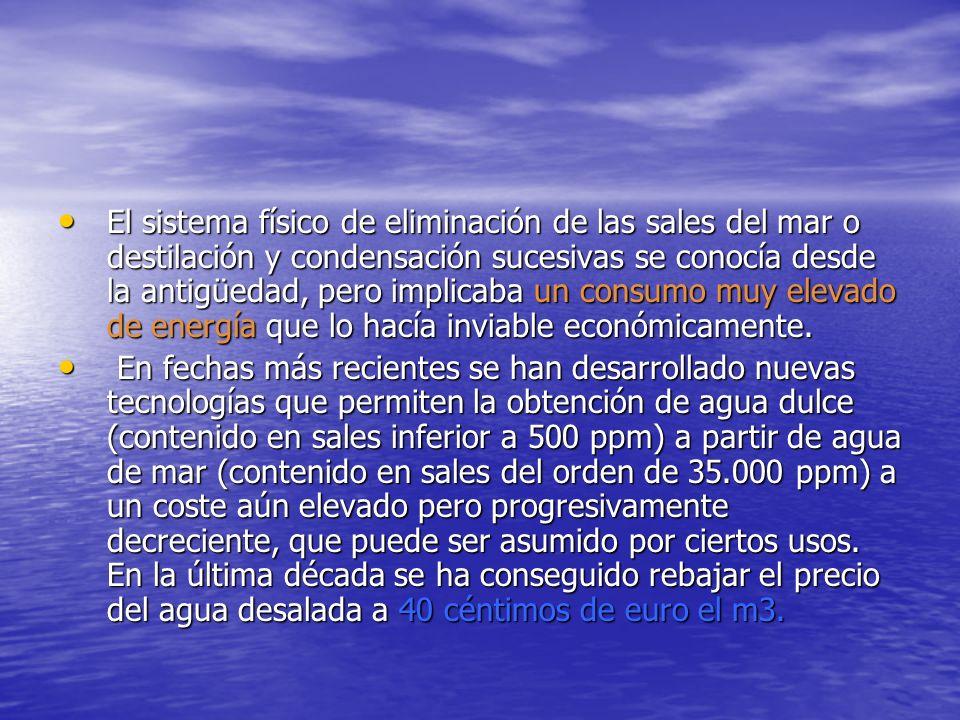 El sistema físico de eliminación de las sales del mar o destilación y condensación sucesivas se conocía desde la antigüedad, pero implicaba un consumo