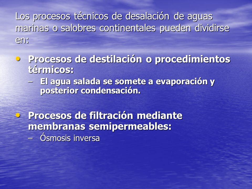 Los procesos técnicos de desalación de aguas marinas o salobres continentales pueden dividirse en: Procesos de destilación o procedimientos térmicos: