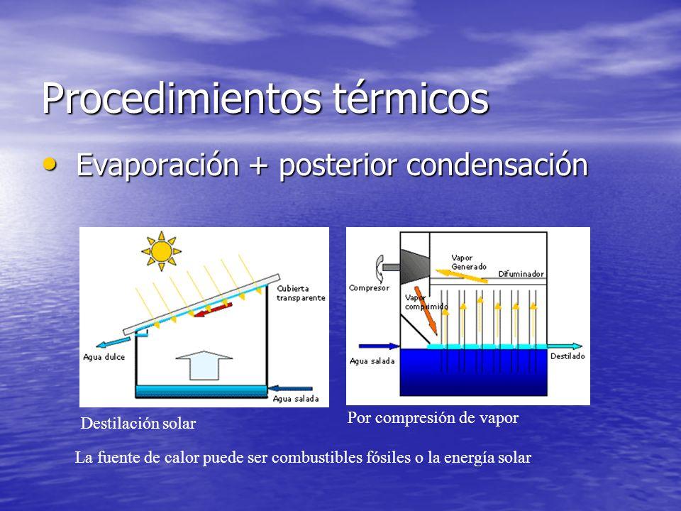 Procedimientos térmicos Evaporación + posterior condensación Evaporación + posterior condensación La fuente de calor puede ser combustibles fósiles o