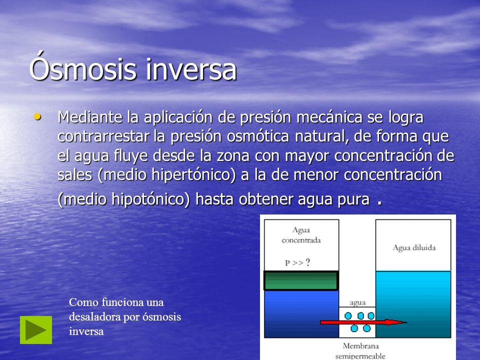 Ósmosis inversa Mediante la aplicación de presión mecánica se logra contrarrestar la presión osmótica natural, de forma que el agua fluye desde la zon