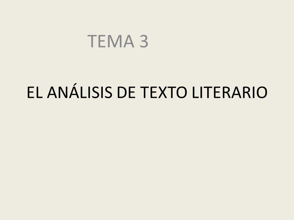 EL ANÁLISIS DE TEXTO LITERARIO TEMA 3