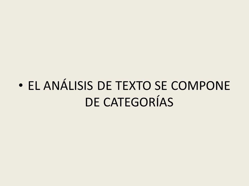 EL ANÁLISIS DE TEXTO SE COMPONE DE CATEGORÍAS