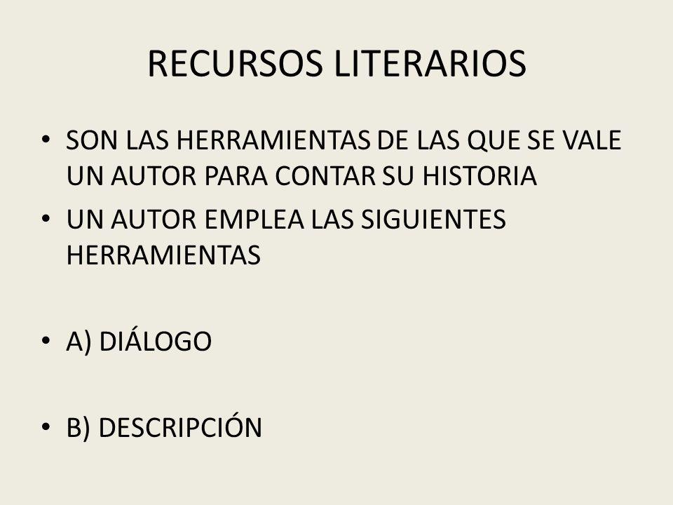 RECURSOS LITERARIOS SON LAS HERRAMIENTAS DE LAS QUE SE VALE UN AUTOR PARA CONTAR SU HISTORIA UN AUTOR EMPLEA LAS SIGUIENTES HERRAMIENTAS A) DIÁLOGO B)