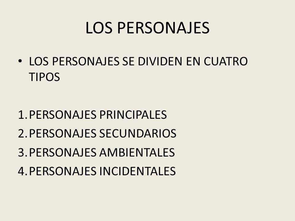 LOS PERSONAJES LOS PERSONAJES SE DIVIDEN EN CUATRO TIPOS 1.PERSONAJES PRINCIPALES 2.PERSONAJES SECUNDARIOS 3.PERSONAJES AMBIENTALES 4.PERSONAJES INCID