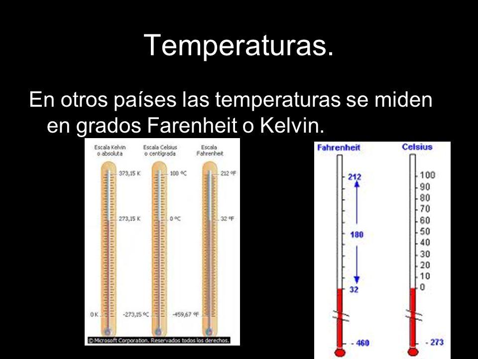 Temperaturas. En otros países las temperaturas se miden en grados Farenheit o Kelvin.
