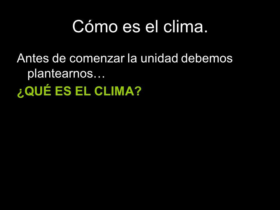 Cómo es el clima. Antes de comenzar la unidad debemos plantearnos… ¿QUÉ ES EL CLIMA?