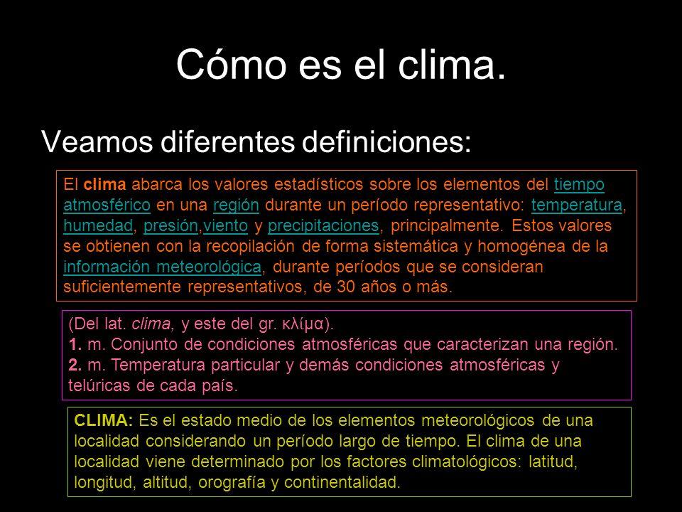 Cómo es el clima. Veamos diferentes definiciones: El clima abarca los valores estadísticos sobre los elementos del tiempo atmosférico en una región du