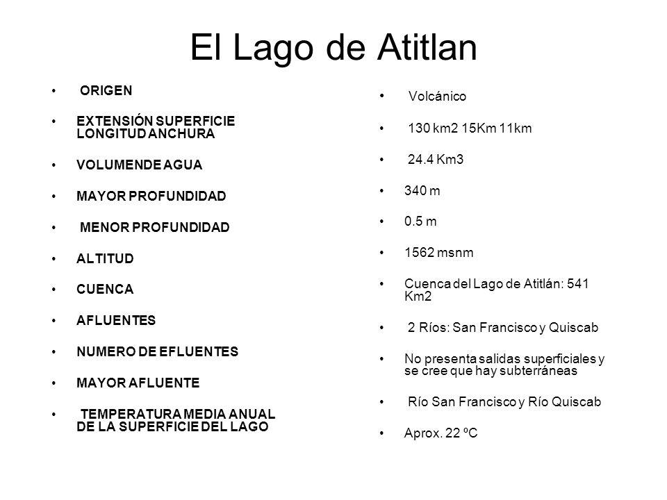 El Lago de Atitlan Volcánico 130 km2 15Km 11km 24.4 Km3 340 m 0.5 m 1562 msnm Cuenca del Lago de Atitlán: 541 Km2 2 Ríos: San Francisco y Quiscab No p
