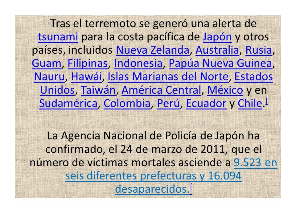 Tras el terremoto se generó una alerta de tsunami para la costa pacífica de Japón y otros países, incluidos Nueva Zelanda, Australia, Rusia, Guam, Fil