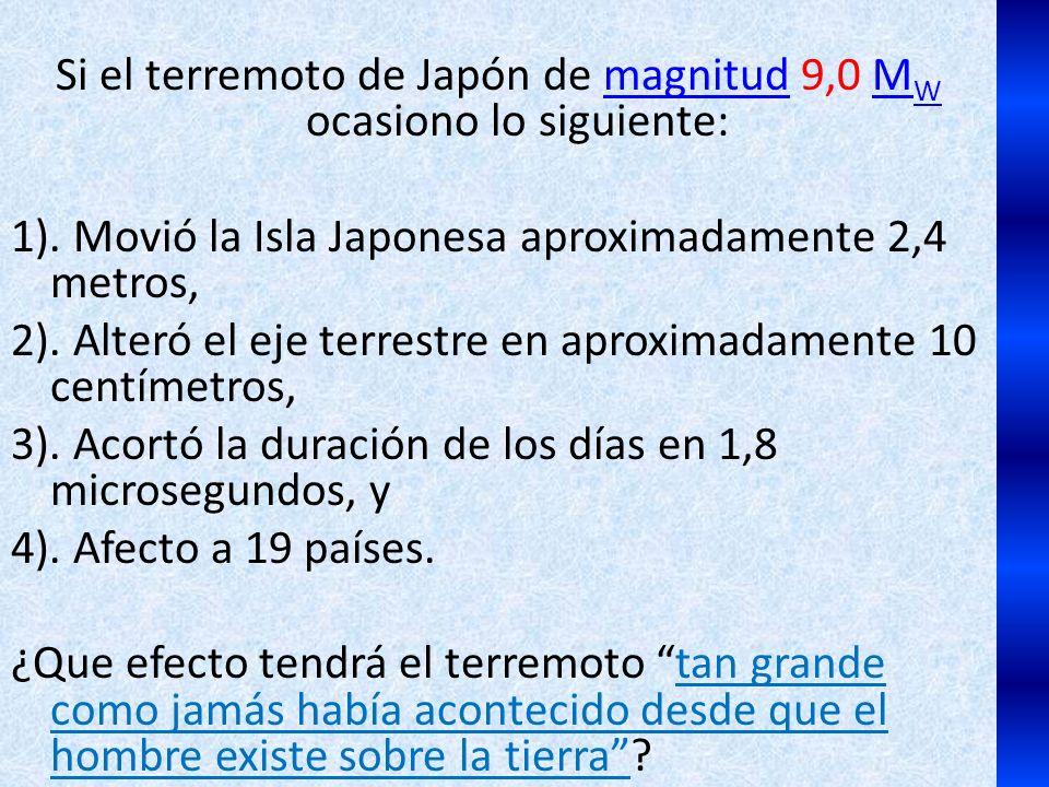 Si el terremoto de Japón de magnitud 9,0 M W ocasiono lo siguiente:magnitudM W 1). Movió la Isla Japonesa aproximadamente 2,4 metros, 2). Alteró el ej