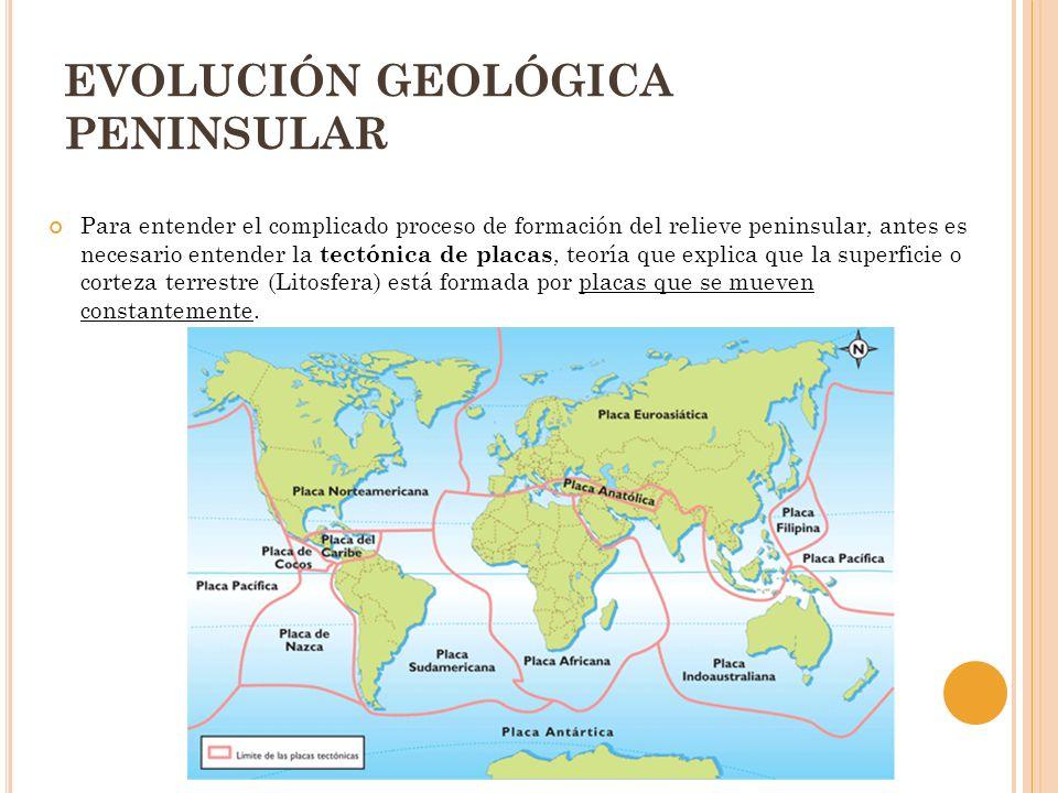 EVOLUCIÓN GEOLÓGICA PENINSULAR Para entender el complicado proceso de formación del relieve peninsular, antes es necesario entender la tectónica de pl