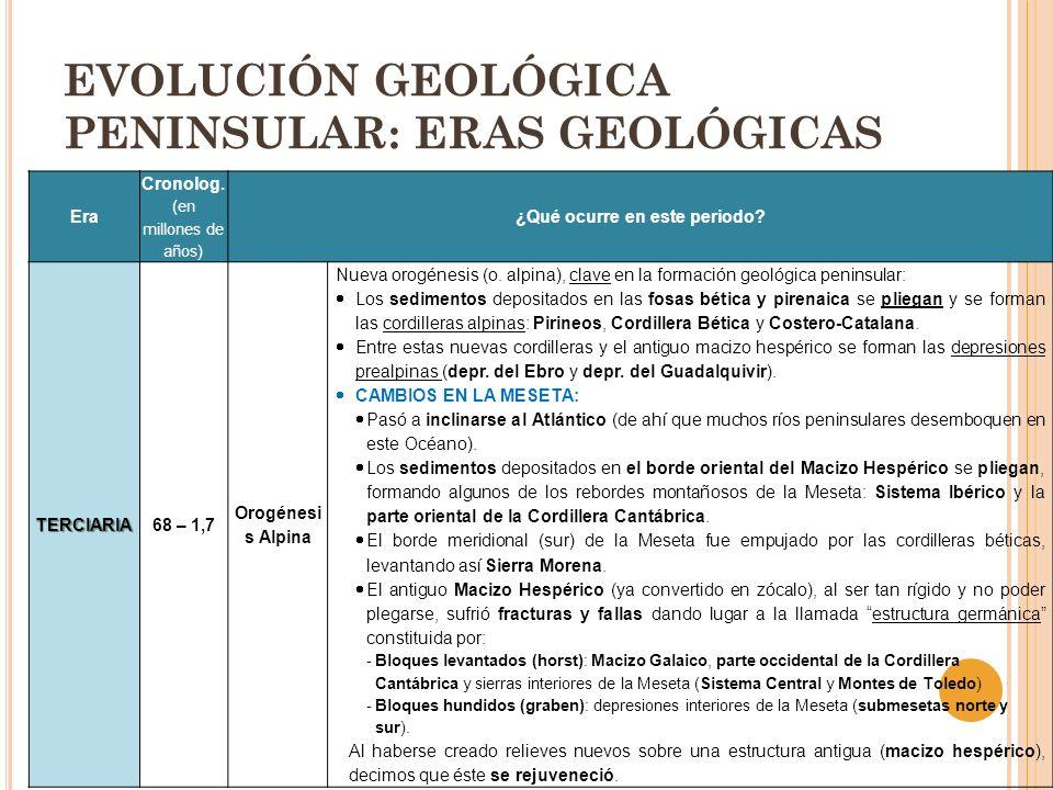 EVOLUCIÓN GEOLÓGICA PENINSULAR: ERAS GEOLÓGICAS Era Cronolog. (en millones de años) ¿Qué ocurre en este periodo? TERCIARIA68 – 1,7 Orogénesi s Alpina