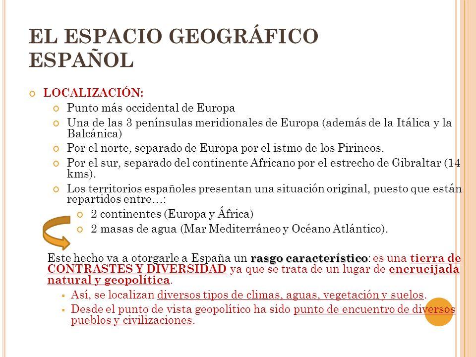 EL ESPACIO GEOGRÁFICO ESPAÑOL LOCALIZACIÓN: Punto más occidental de Europa Una de las 3 penínsulas meridionales de Europa (además de la Itálica y la B