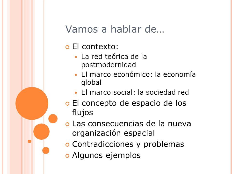 Vamos a hablar de… El contexto: La red teórica de la postmodernidad El marco económico: la economía global El marco social: la sociedad red El concept