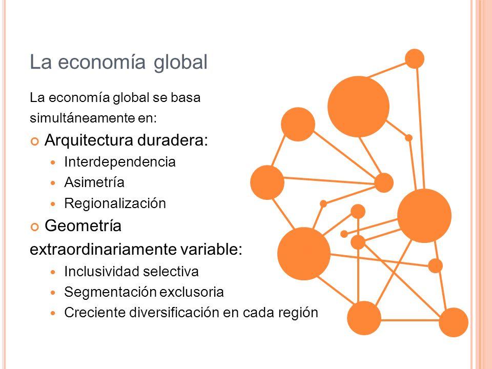 La economía global La economía global se basa simultáneamente en: Arquitectura duradera: Interdependencia Asimetría Regionalización Geometría extraord